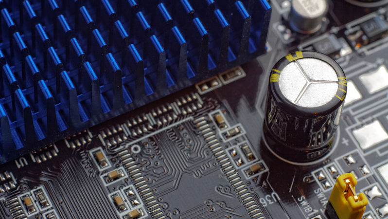Close up of motherboard