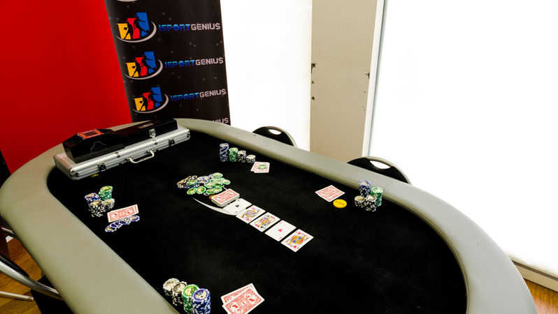 Poker table and chips in the GTG Network Melbourne office