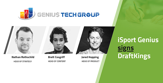 iSport Genius signs DraftKings with headshots of co-founders Nathan Rothschild, Jared Hopping & Brett Cosgriff