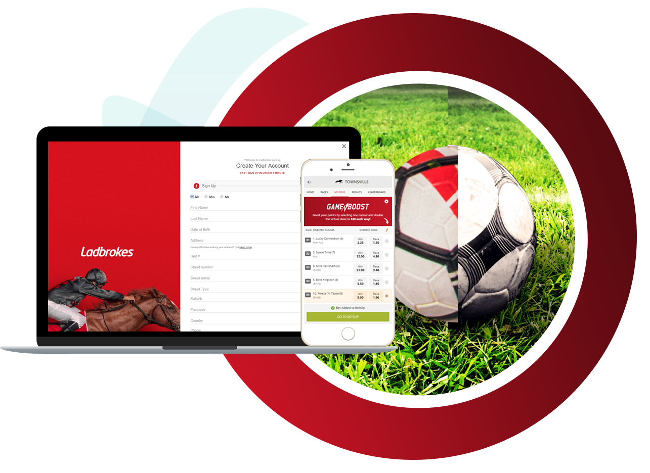 Ladbrokes account registration screen on laptop and gameboost on mobile in front of soccer ball