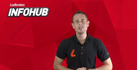Man in polo shirt in an advertisement for Ladbrokes infohub