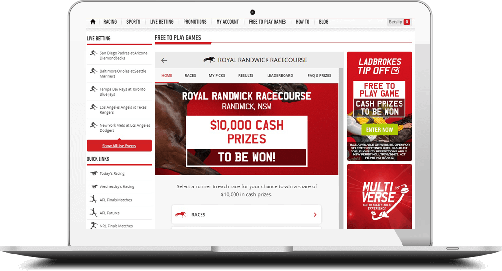 Ladbrokes free to play horse racing Tip Off predictor game on laptop screen