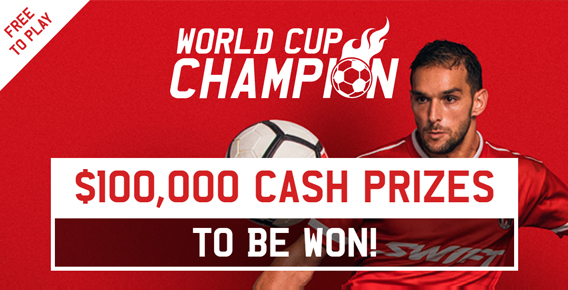 Advertisement for Ladbrokes free-to-play World Cup Champion game created by Genius Games