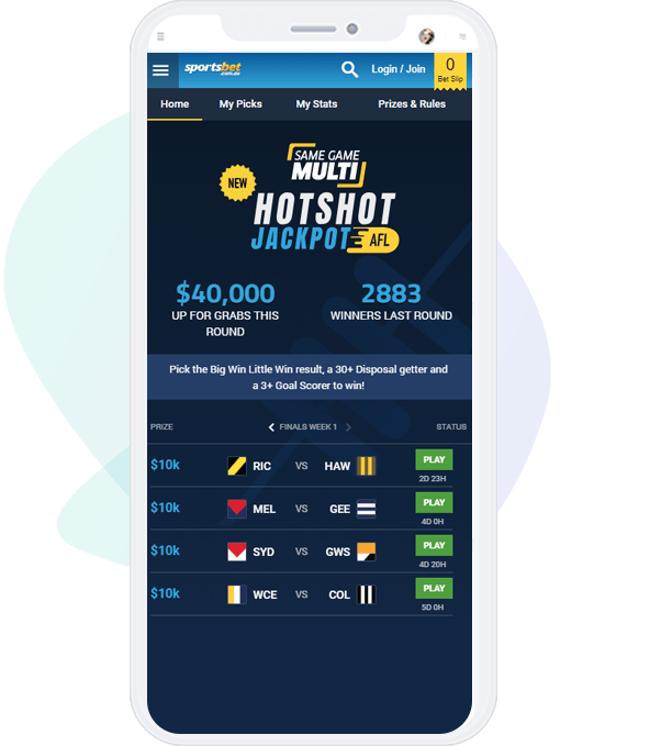 Mobile screen with Sportsbet Hotshot Jackpot game for AFL