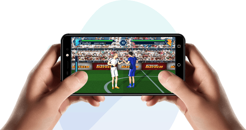 Both hands holding mobile phone playing Worldcup Mayhem game