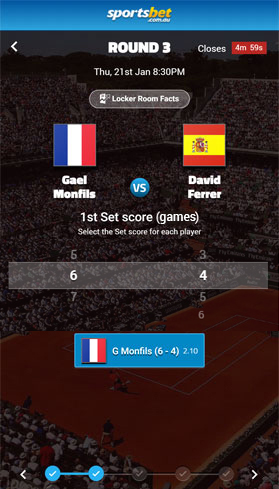 Sportsbet Perfect Ten game for Gael Monfils vs David Ferrer
